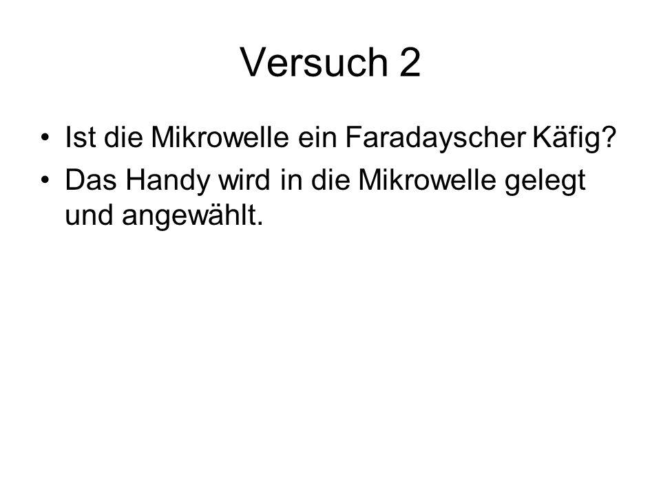 Versuch 2 Ist die Mikrowelle ein Faradayscher Käfig.