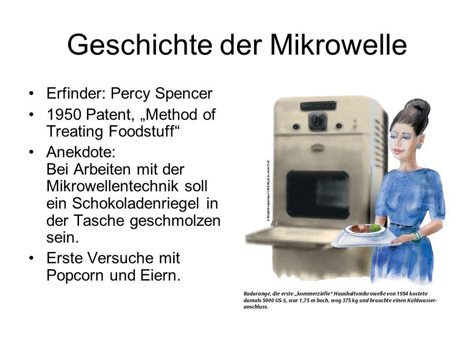 Geschichte der Mikrowelle Erfinder: Percy Spencer 1950 Patent, Method of Treating Foodstuff Anekdote: Bei Arbeiten mit der Mikrowellentechnik soll ein Schokoladenriegel in der Tasche geschmolzen sein.