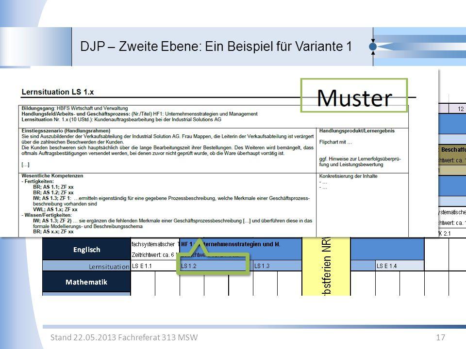 DJP – Zweite Ebene: Ein Beispiel für Variante 1 17 Stand 22.05.2013 Fachreferat 313 MSW