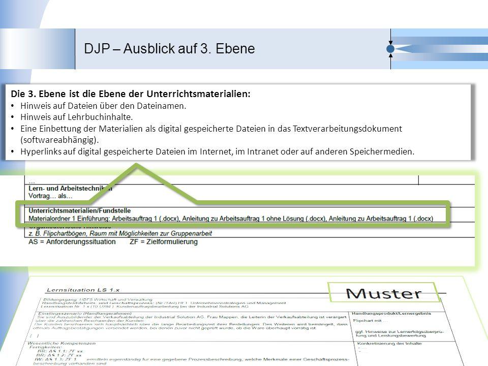 DJP – Ausblick auf 3. Ebene 18 Stand 22.05.2013 Fachreferat 313 MSW Die 3. Ebene ist die Ebene der Unterrichtsmaterialien: Hinweis auf Dateien über de