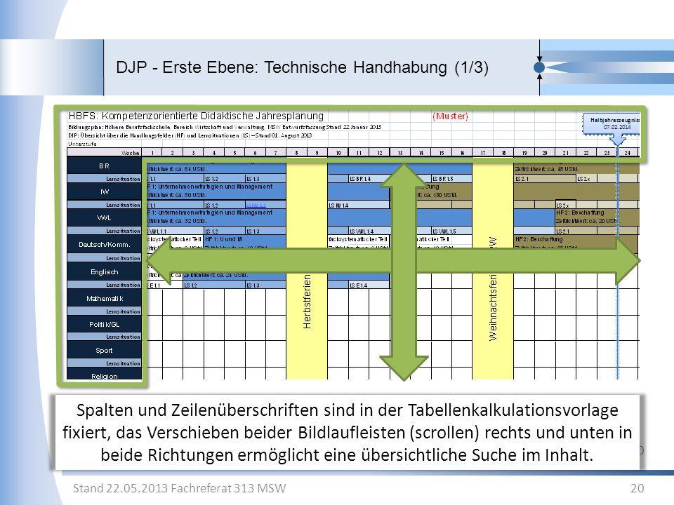 DJP - Erste Ebene: Technische Handhabung (1/3) 20 Stand 22.05.2013 Fachreferat 313 MSW Spalten und Zeilenüberschriften sind in der Tabellenkalkulation