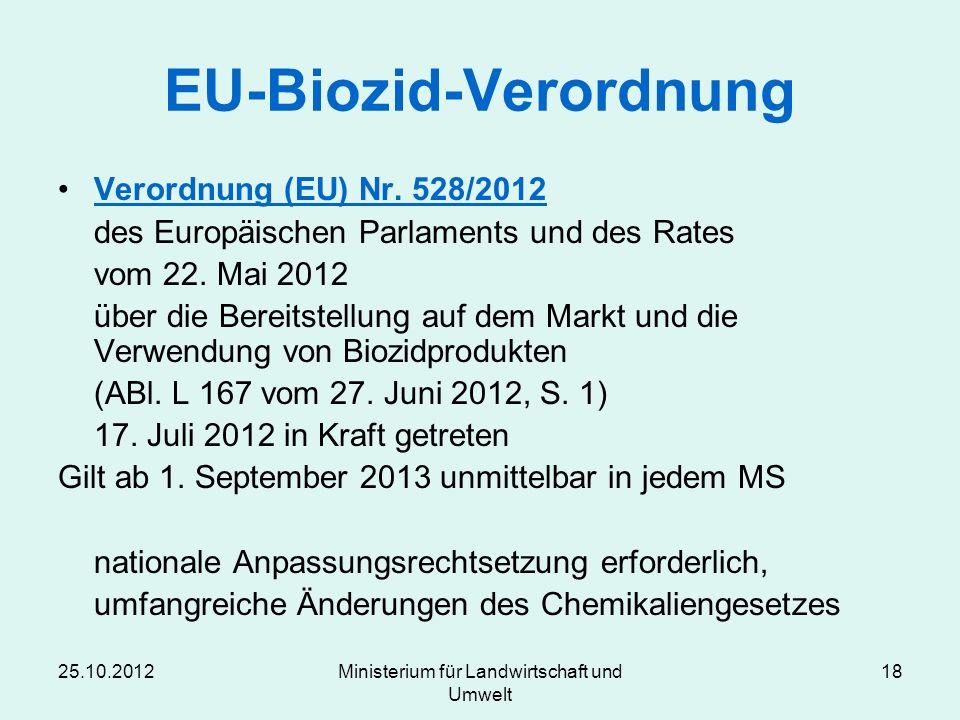 25.10.2012Ministerium für Landwirtschaft und Umwelt 18 EU-Biozid-Verordnung Verordnung (EU) Nr. 528/2012 des Europäischen Parlaments und des Rates vom