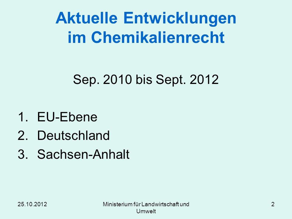 25.10.2012Ministerium für Landwirtschaft und Umwelt 2 Aktuelle Entwicklungen im Chemikalienrecht Sep. 2010 bis Sept. 2012 1.EU-Ebene 2.Deutschland 3.S