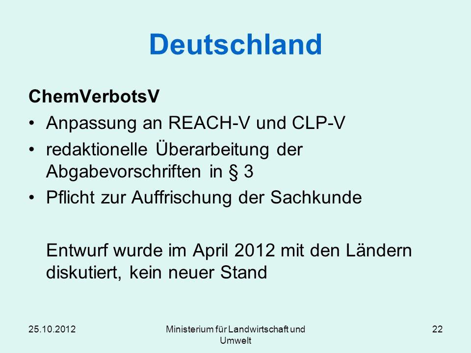 25.10.2012Ministerium für Landwirtschaft und Umwelt 22 Deutschland ChemVerbotsV Anpassung an REACH-V und CLP-V redaktionelle Überarbeitung der Abgabev