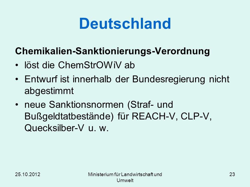 Deutschland Chemikalien-Sanktionierungs-Verordnung löst die ChemStrOWiV ab Entwurf ist innerhalb der Bundesregierung nicht abgestimmt neue Sanktionsno