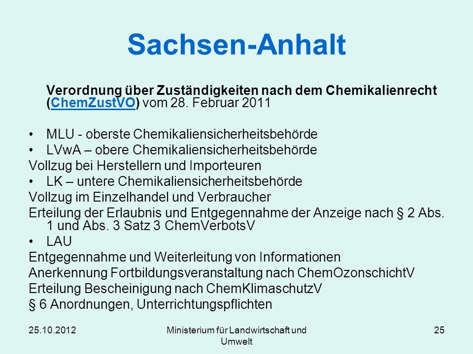 25.10.2012Ministerium für Landwirtschaft und Umwelt 25 Sachsen-Anhalt Verordnung über Zuständigkeiten nach dem Chemikalienrecht (ChemZustVO) vom 28. F