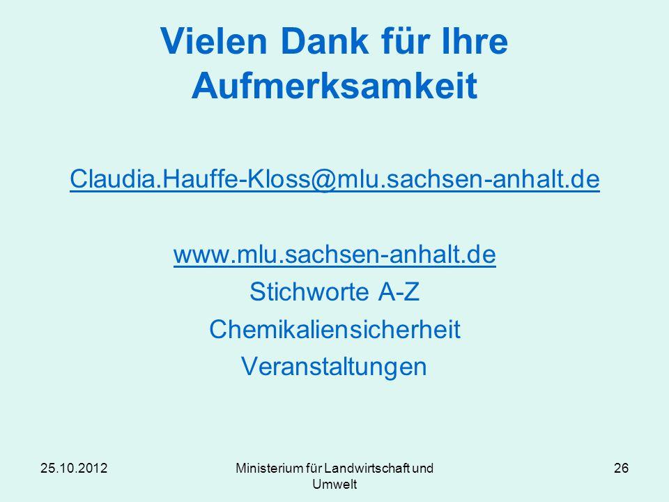 25.10.2012Ministerium für Landwirtschaft und Umwelt 26 Vielen Dank für Ihre Aufmerksamkeit Claudia.Hauffe-Kloss@mlu.sachsen-anhalt.de www.mlu.sachsen-