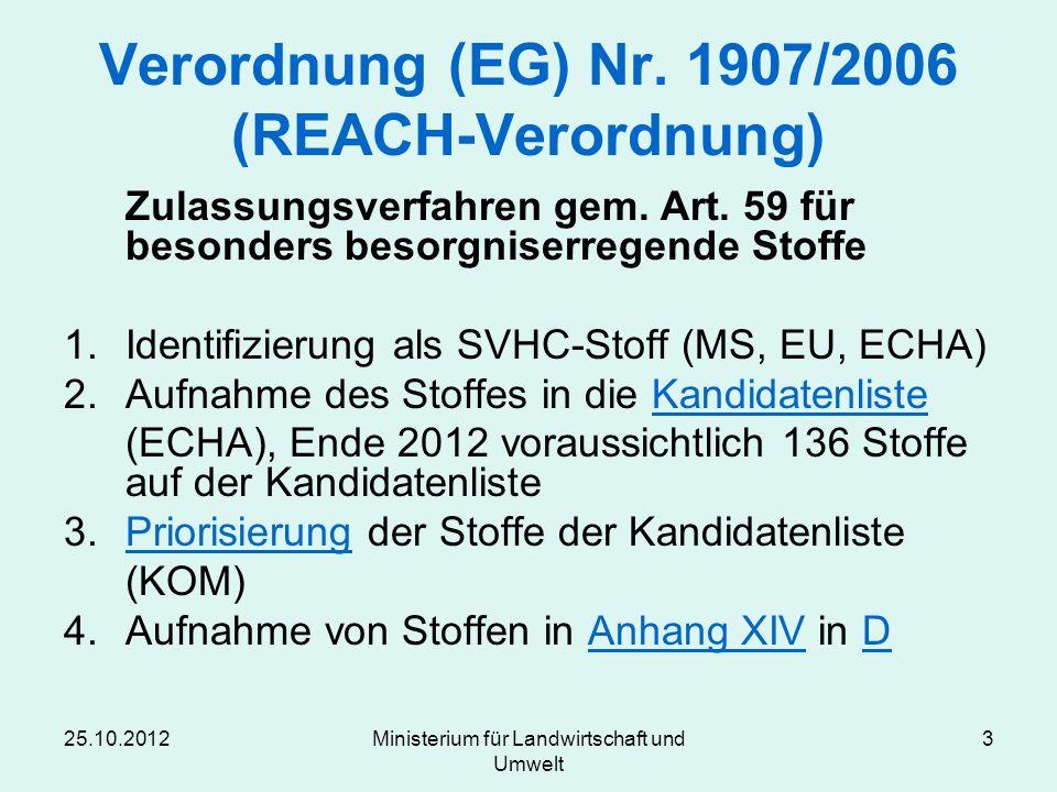 25.10.2012Ministerium für Landwirtschaft und Umwelt 3 Verordnung (EG) Nr. 1907/2006 (REACH-Verordnung) Zulassungsverfahren gem. Art. 59 für besonders