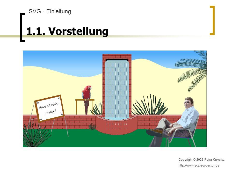 1.1. Vorstellung SVG - Einleitung Copyright © 2002 Petra Kukofka http://www.scale-a-vector.de