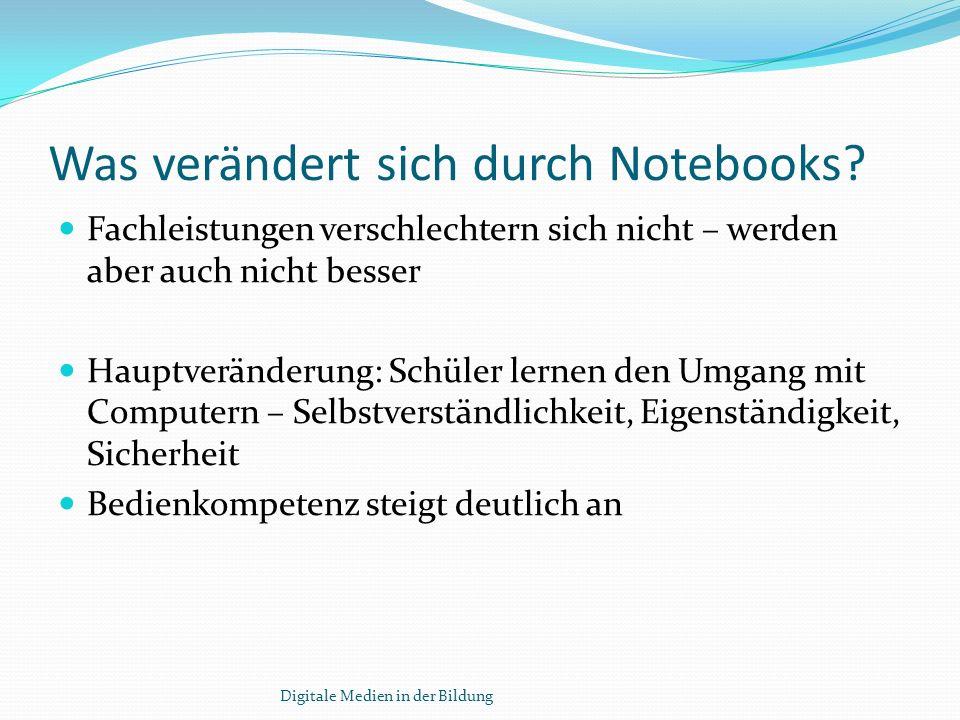 Vorbereitung auf die Einführung von Laptopklassen Otto-Nagel-GymnasiumOtto-Nagel-Gymnasium in Berlin: mehrmonatige technische und didaktische Schulung der Lehrer Einweisung der Eltern in Nutzung, Pflege und Wartung der Geräte Digitale Medien in der Bildung