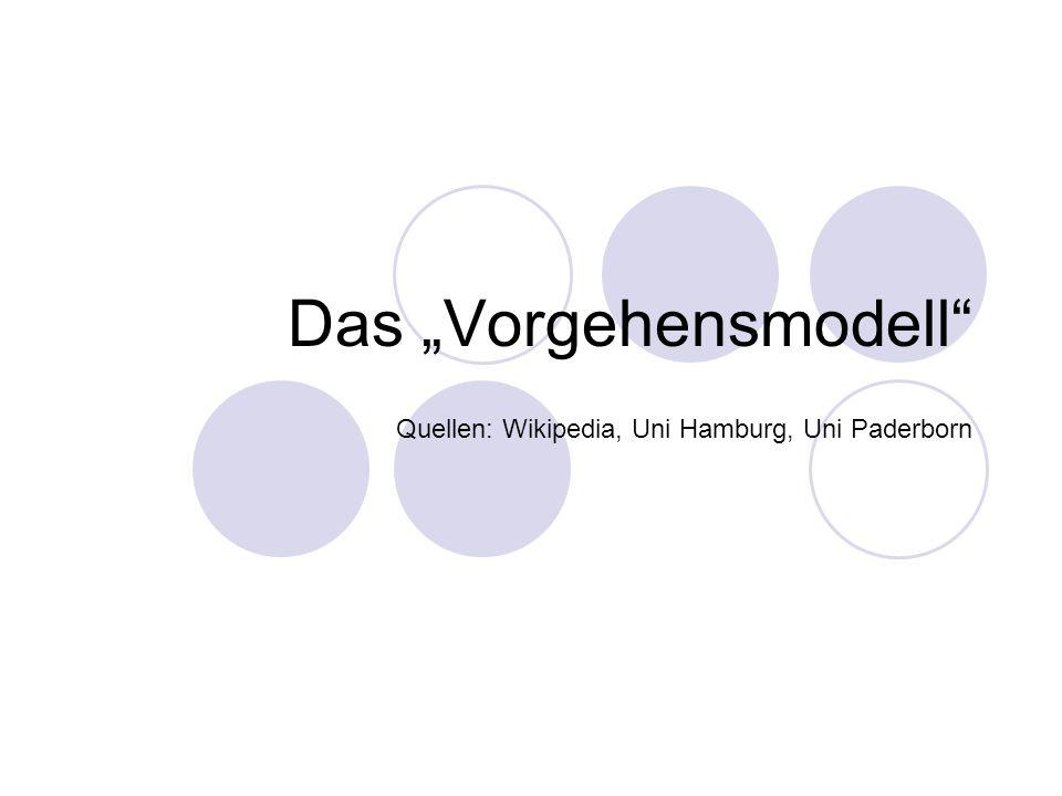 Das Vorgehensmodell Quellen: Wikipedia, Uni Hamburg, Uni Paderborn