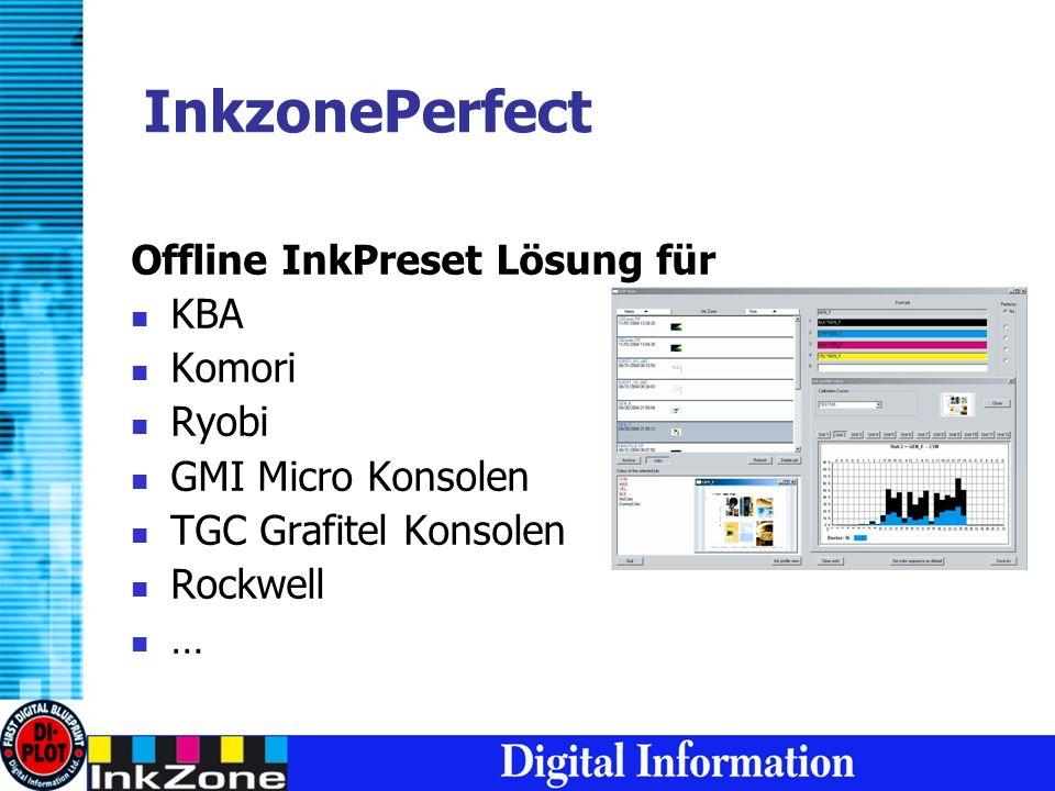 InkzonePerfect Offline InkPreset Lösung für KBA Komori Ryobi GMI Micro Konsolen TGC Grafitel Konsolen Rockwell …