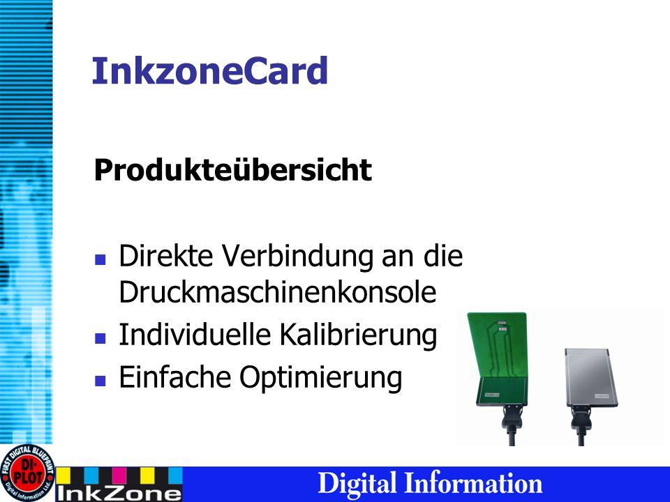 InkzoneCard Produkteübersicht Direkte Verbindung an die Druckmaschinenkonsole Individuelle Kalibrierung Einfache Optimierung