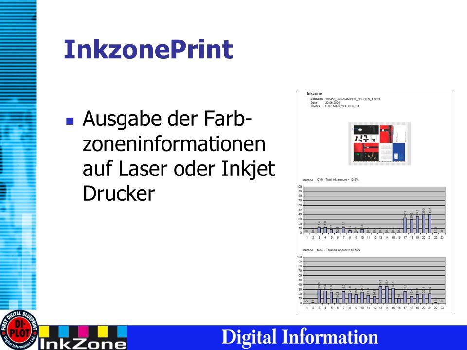 InkzonePrint Ausgabe der Farb- zoneninformationen auf Laser oder Inkjet Drucker