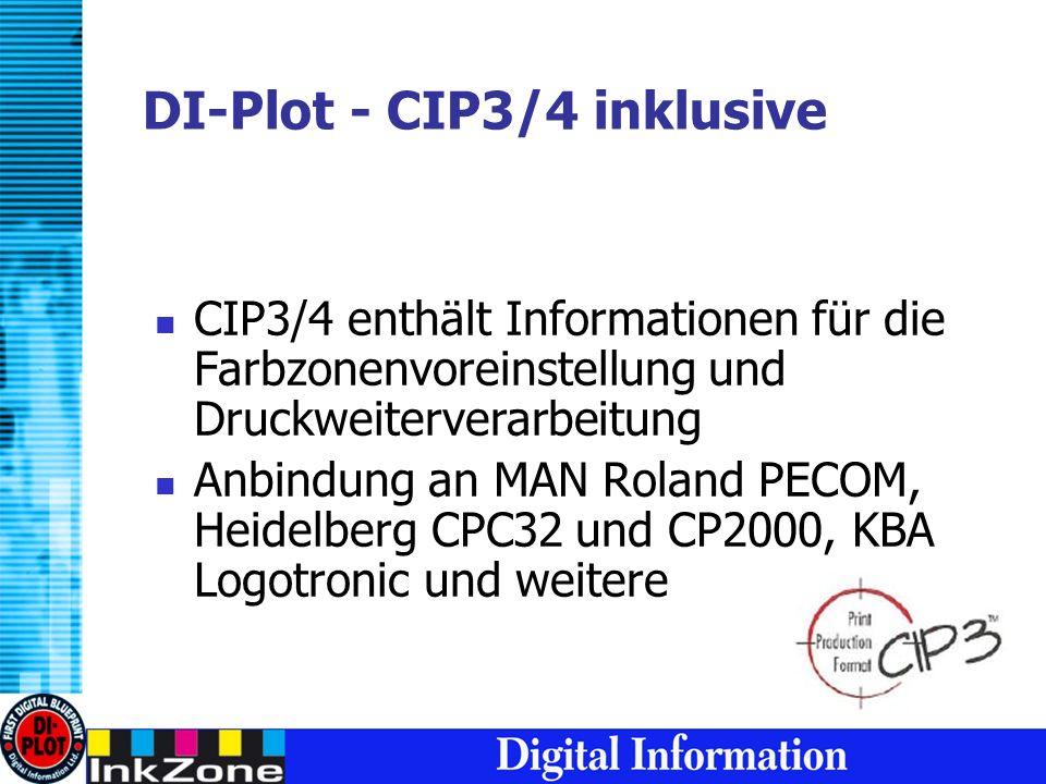 DI-Plot - CIP3/4 inklusive CIP3/4 enthält Informationen für die Farbzonenvoreinstellung und Druckweiterverarbeitung Anbindung an MAN Roland PECOM, Heidelberg CPC32 und CP2000, KBA Logotronic und weitere