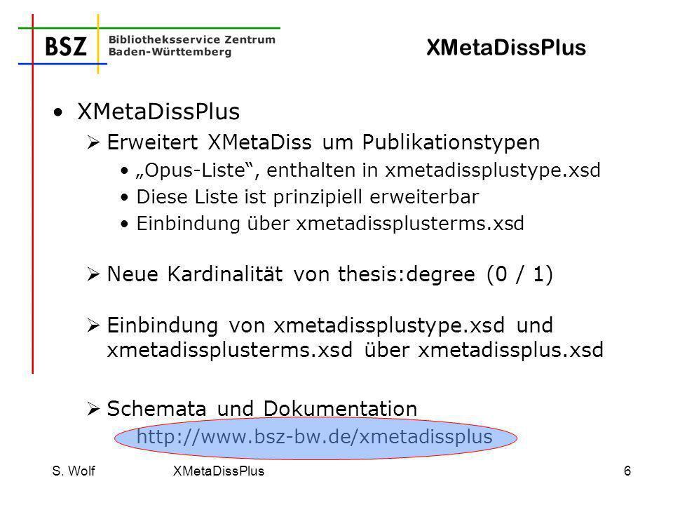 S. Wolf XMetaDissPlus7 XMetaDissPlus: Erzeugung