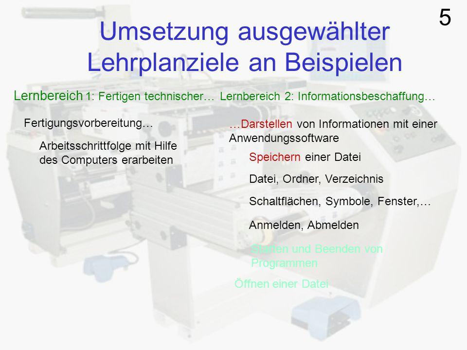 Umsetzung ausgewählter Lehrplanziele an Beispielen Lernbereich 1: Fertigen technischer… Lernbereich 2: Informationsbeschaffung… Fertigungsvorbereitung