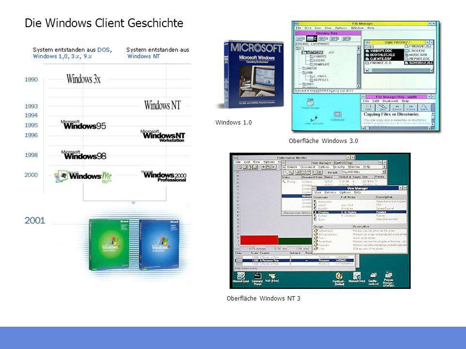Die Windows Client Geschichte Windows 1.0 Oberfläche Windows 3.0 Oberfläche Windows NT 3
