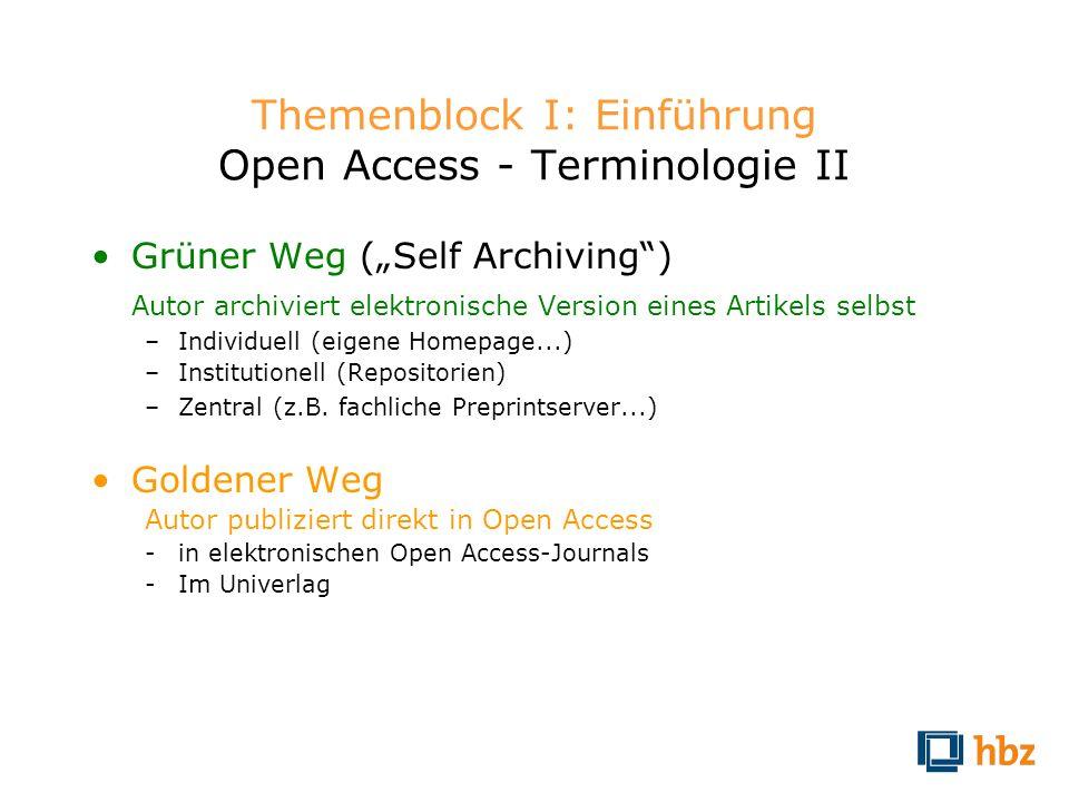 Themenblock I: Einführung Open Access - Terminologie II Grüner Weg (Self Archiving) Autor archiviert elektronische Version eines Artikels selbst –Indi