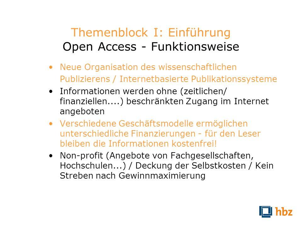 Themenblock I: Einführung Open Access - Funktionsweise Neue Organisation des wissenschaftlichen Publizierens / Internetbasierte Publikationssysteme In