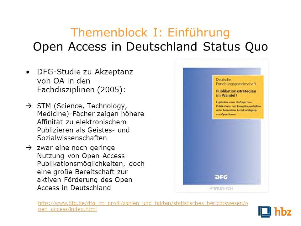Themenblock I: Einführung Open Access in Deutschland Status Quo DFG-Studie zu Akzeptanz von OA in den Fachdisziplinen (2005): STM (Science, Technology