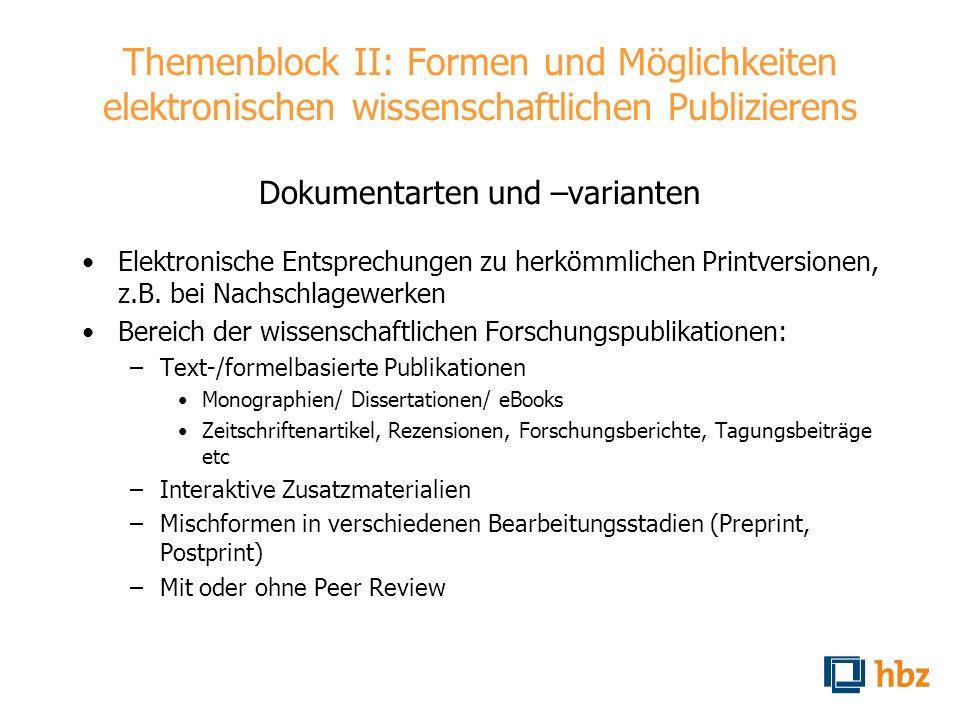 Themenblock II: Formen und Möglichkeiten elektronischen wissenschaftlichen Publizierens Dokumentarten und –varianten Elektronische Entsprechungen zu h