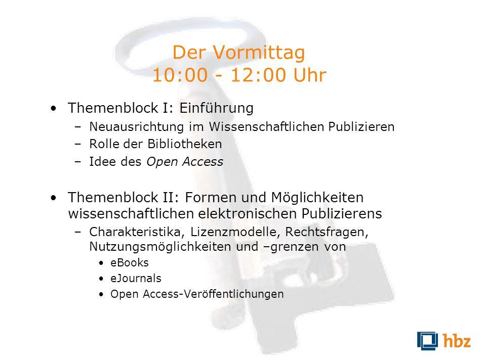 Der Vormittag 10:00 - 12:00 Uhr Themenblock I: Einführung –Neuausrichtung im Wissenschaftlichen Publizieren –Rolle der Bibliotheken –Idee des Open Acc
