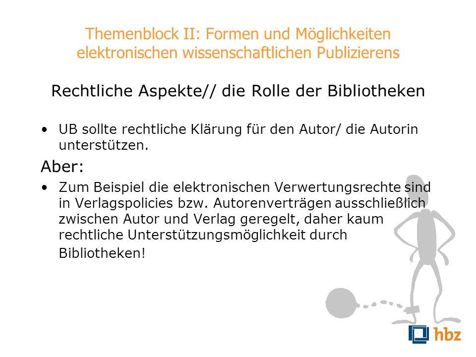 Themenblock II: Formen und Möglichkeiten elektronischen wissenschaftlichen Publizierens Rechtliche Aspekte// die Rolle der Bibliotheken UB sollte rech