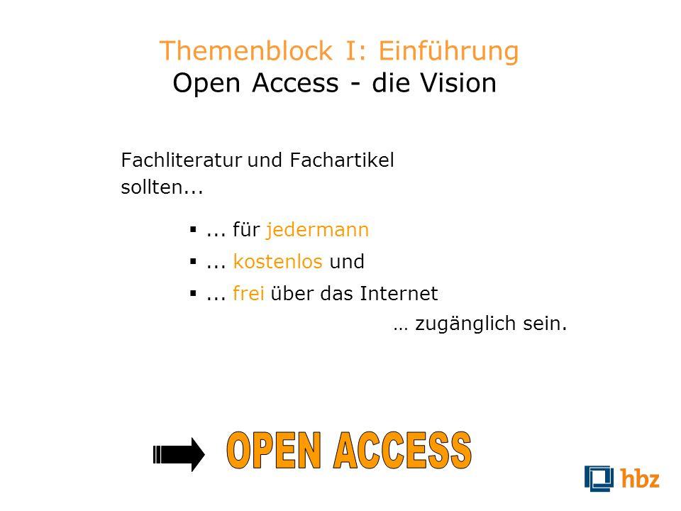 Themenblock I: Einführung Open Access - die Vision Fachliteratur und Fachartikel sollten...... für jedermann... kostenlos und... frei über das Interne