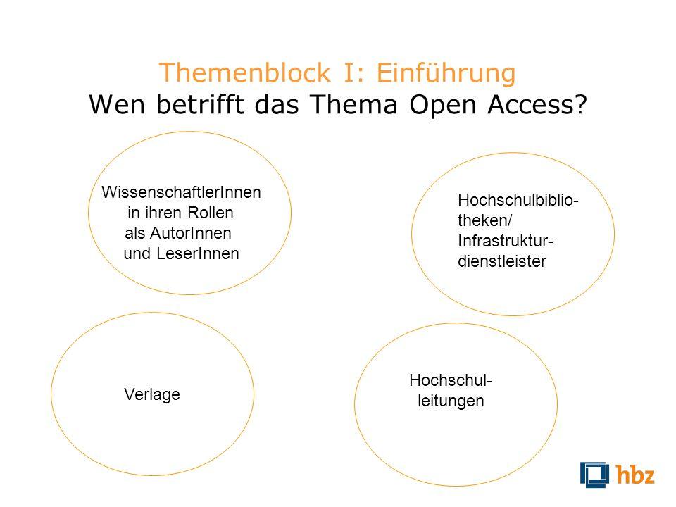 Themenblock I: Einführung Wen betrifft das Thema Open Access? WissenschaftlerInnen in ihren Rollen als AutorInnen und LeserInnen Hochschul- leitungen