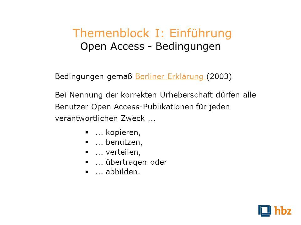 Themenblock I: Einführung Open Access - Bedingungen Bedingungen gemäß Berliner Erklärung (2003)Berliner Erklärung Bei Nennung der korrekten Urhebersch