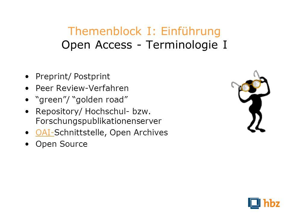Themenblock I: Einführung Open Access - Terminologie I Preprint/ Postprint Peer Review-Verfahren green/ golden road Repository/ Hochschul- bzw. Forsch