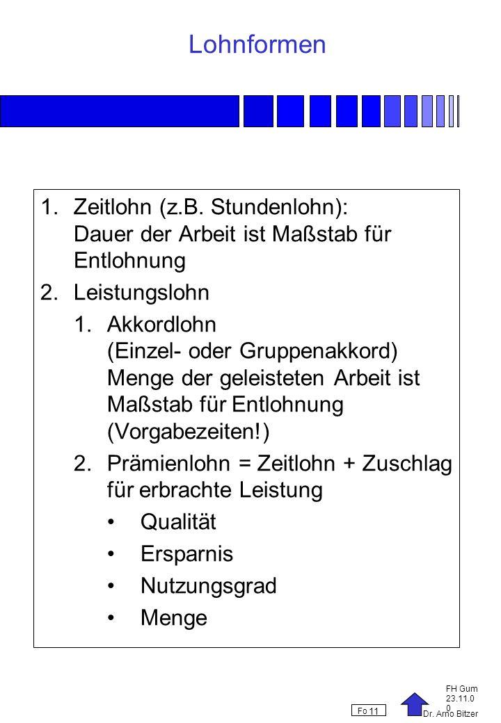 Dr. Arno Bitzer FH Gum 23.11.0 0 Fo 11 Lohnformen 1.Zeitlohn (z.B. Stundenlohn): Dauer der Arbeit ist Maßstab für Entlohnung 2.Leistungslohn 1.Akkordl