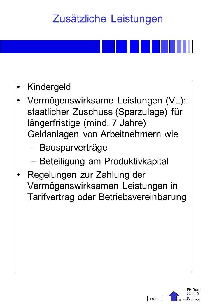 Dr. Arno Bitzer FH Gum 23.11.0 0 Fo 13 Zusätzliche Leistungen Kindergeld Vermögenswirksame Leistungen (VL): staatlicher Zuschuss (Sparzulage) für läng
