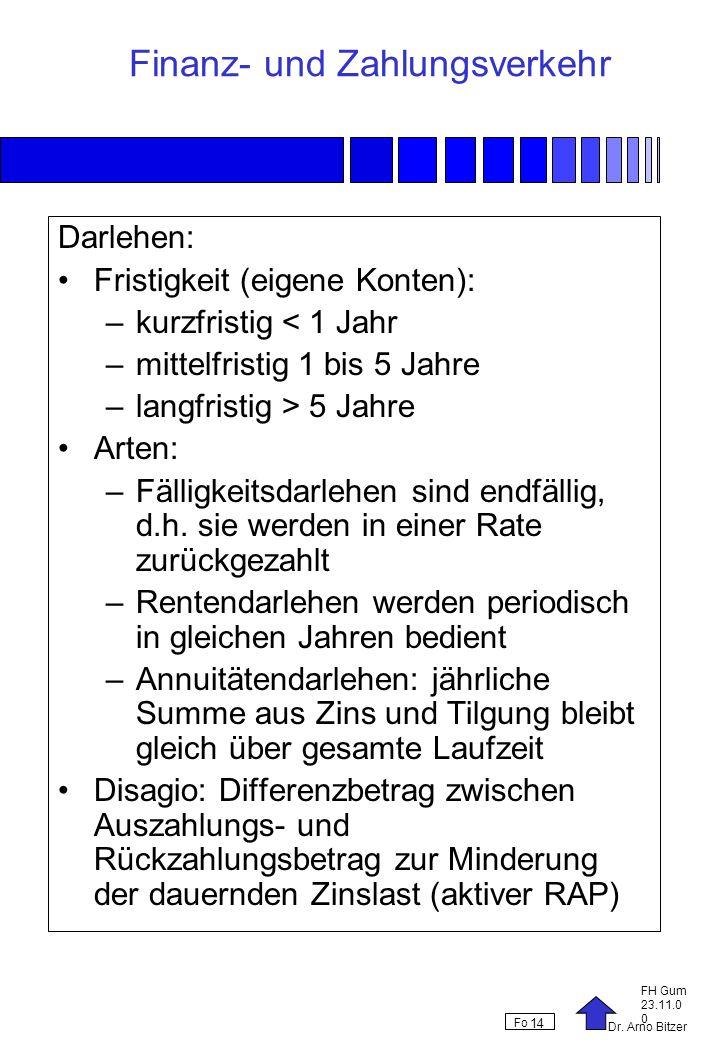 Dr. Arno Bitzer FH Gum 23.11.0 0 Fo 14 Finanz- und Zahlungsverkehr Darlehen: Fristigkeit (eigene Konten): –kurzfristig < 1 Jahr –mittelfristig 1 bis 5