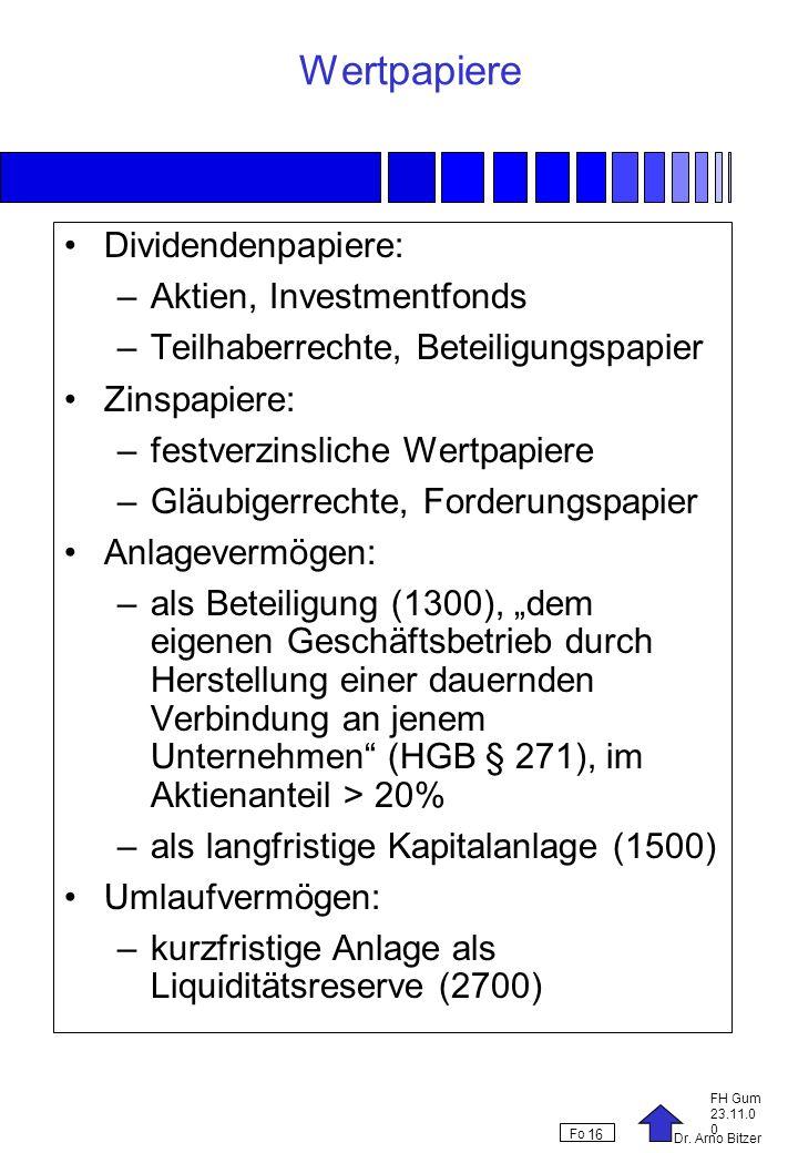 Dr. Arno Bitzer FH Gum 23.11.0 0 Fo 16 Wertpapiere Dividendenpapiere: –Aktien, Investmentfonds –Teilhaberrechte, Beteiligungspapier Zinspapiere: –fest