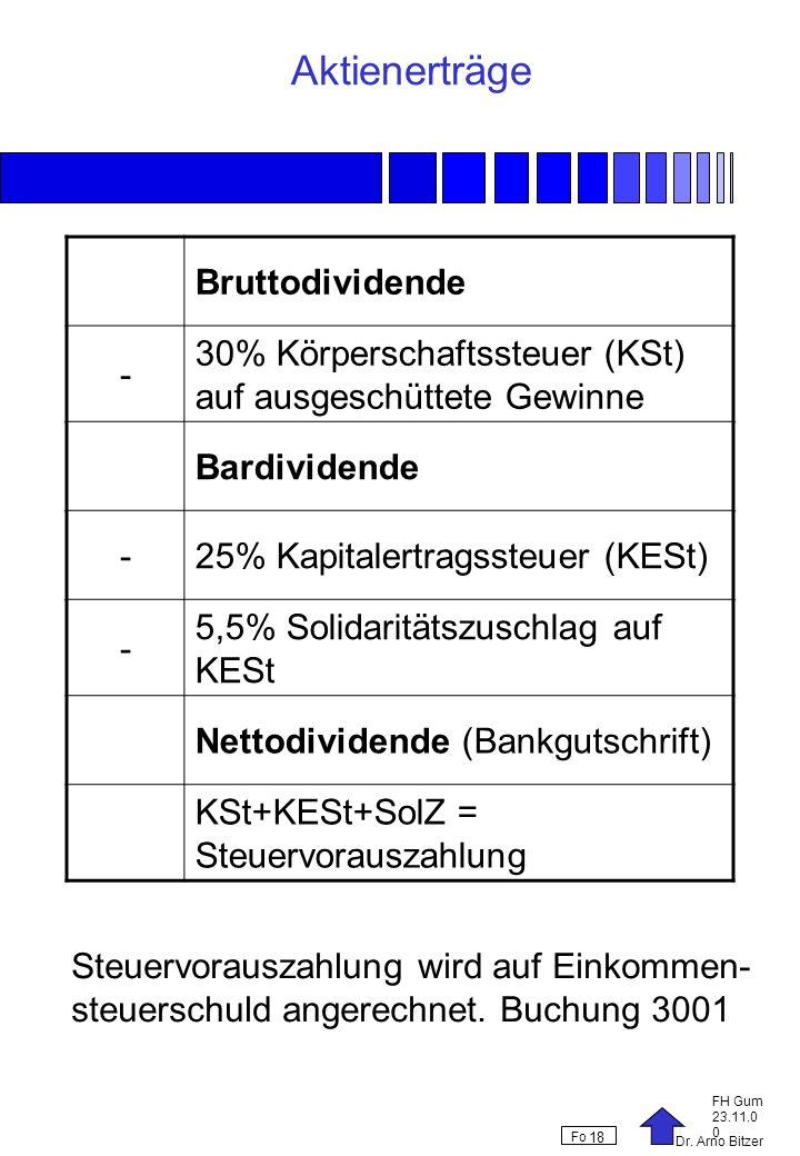 Dr. Arno Bitzer FH Gum 23.11.0 0 Fo 18 Aktienerträge Bruttodividende - 30% Körperschaftssteuer (KSt) auf ausgeschüttete Gewinne Bardividende -25% Kapi