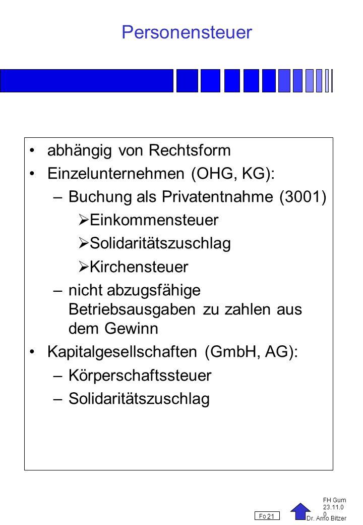 Dr. Arno Bitzer FH Gum 23.11.0 0 Fo 21 Personensteuer abhängig von Rechtsform Einzelunternehmen (OHG, KG): –Buchung als Privatentnahme (3001) Einkomme
