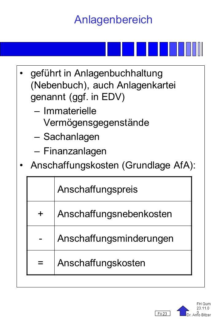 Dr. Arno Bitzer FH Gum 23.11.0 0 Fo 23 Anlagenbereich geführt in Anlagenbuchhaltung (Nebenbuch), auch Anlagenkartei genannt (ggf. in EDV) –Immateriell