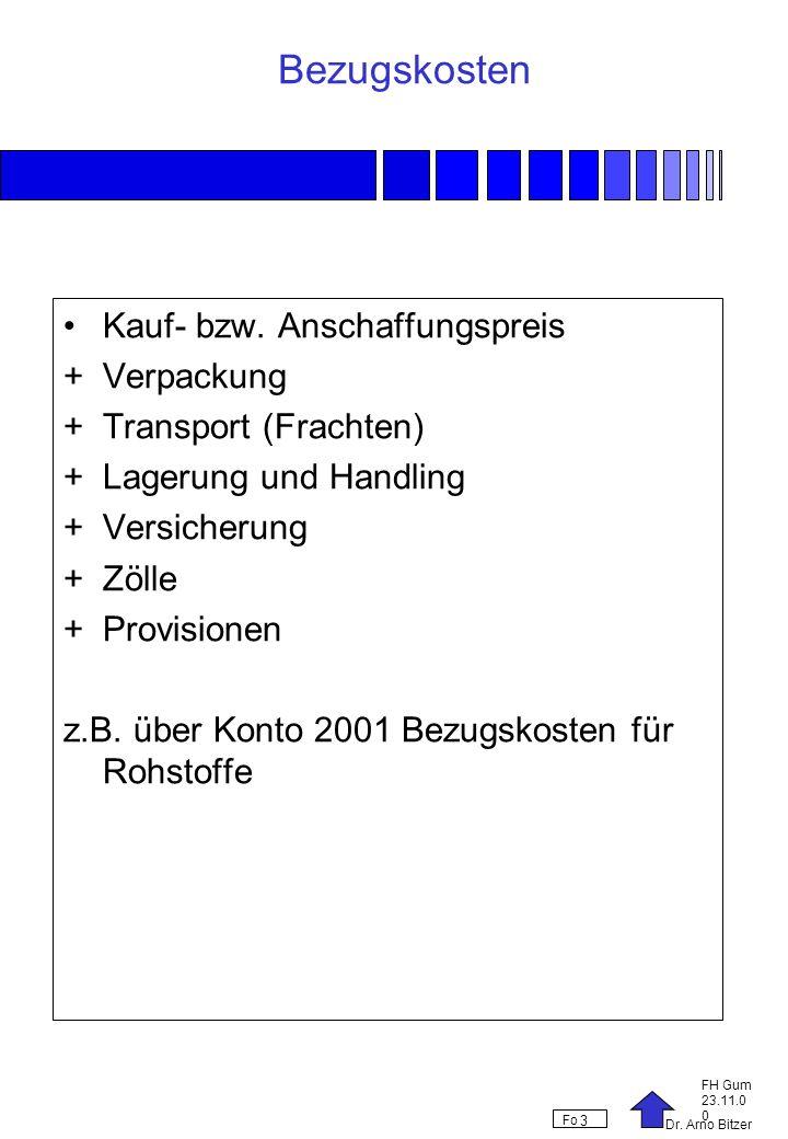 Dr. Arno Bitzer FH Gum 23.11.0 0 Fo 3 Bezugskosten Kauf- bzw. Anschaffungspreis +Verpackung +Transport (Frachten) +Lagerung und Handling +Versicherung