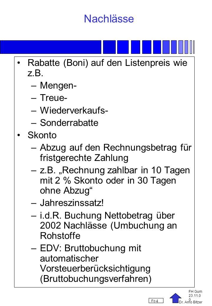 Dr. Arno Bitzer FH Gum 23.11.0 0 Fo 4 Nachlässe Rabatte (Boni) auf den Listenpreis wie z.B. –Mengen- –Treue- –Wiederverkaufs- –Sonderrabatte Skonto –A