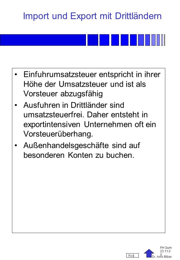 Dr. Arno Bitzer FH Gum 23.11.0 0 Fo 8 Import und Export mit Drittländern Einfuhrumsatzsteuer entspricht in ihrer Höhe der Umsatzsteuer und ist als Vor