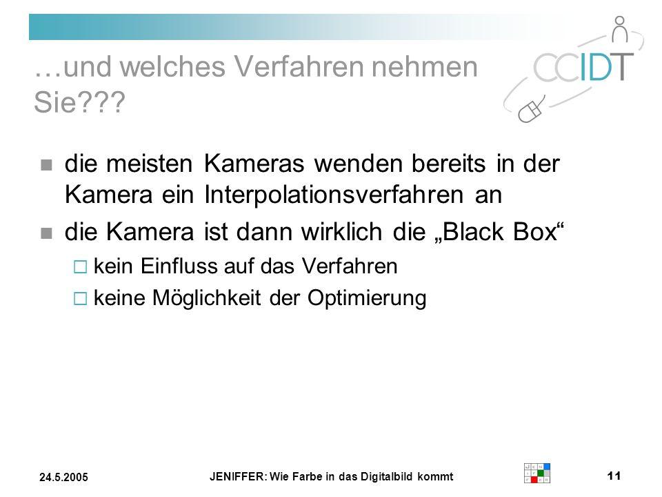 JENIFFER: Wie Farbe in das Digitalbild kommt 11 24.5.2005 …und welches Verfahren nehmen Sie??? die meisten Kameras wenden bereits in der Kamera ein In