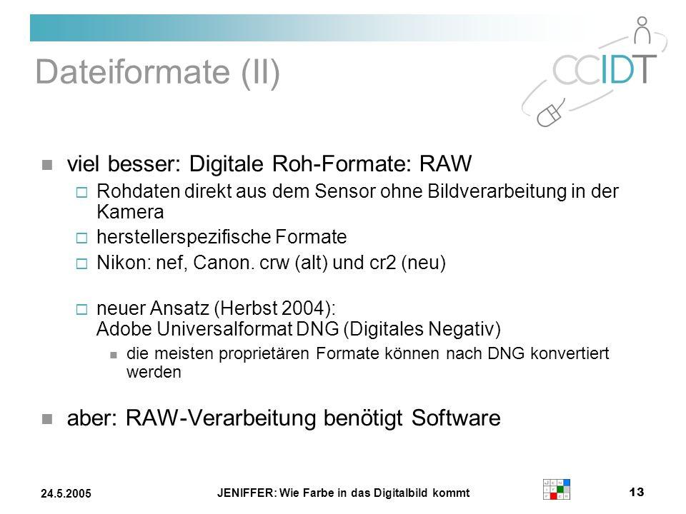 JENIFFER: Wie Farbe in das Digitalbild kommt 13 24.5.2005 Dateiformate (II) viel besser: Digitale Roh-Formate: RAW Rohdaten direkt aus dem Sensor ohne