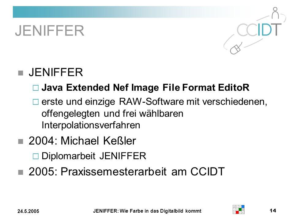 JENIFFER: Wie Farbe in das Digitalbild kommt 14 24.5.2005 JENIFFER Java Extended Nef Image File Format EditoR erste und einzige RAW-Software mit versc
