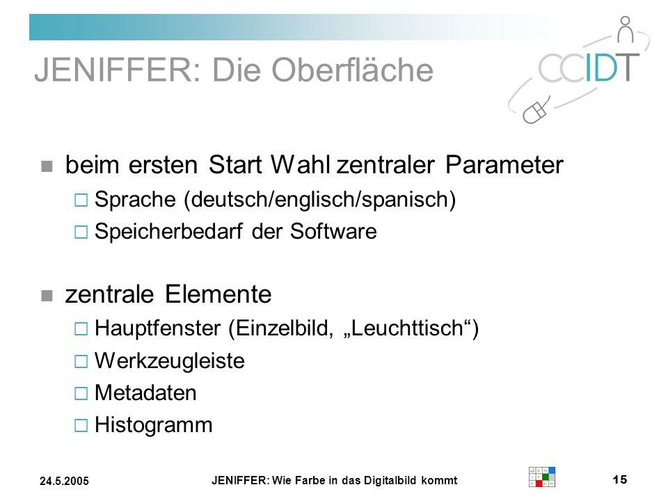 JENIFFER: Wie Farbe in das Digitalbild kommt 15 24.5.2005 JENIFFER: Die Oberfläche beim ersten Start Wahl zentraler Parameter Sprache (deutsch/englisc