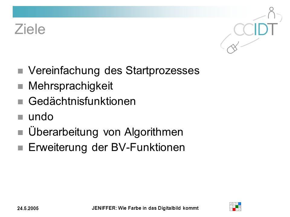 JENIFFER: Wie Farbe in das Digitalbild kommt 24.5.2005 Ziele Vereinfachung des Startprozesses Mehrsprachigkeit Gedächtnisfunktionen undo Überarbeitung