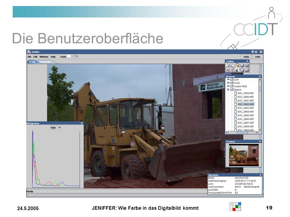 JENIFFER: Wie Farbe in das Digitalbild kommt 19 24.5.2005 Die Benutzeroberfläche
