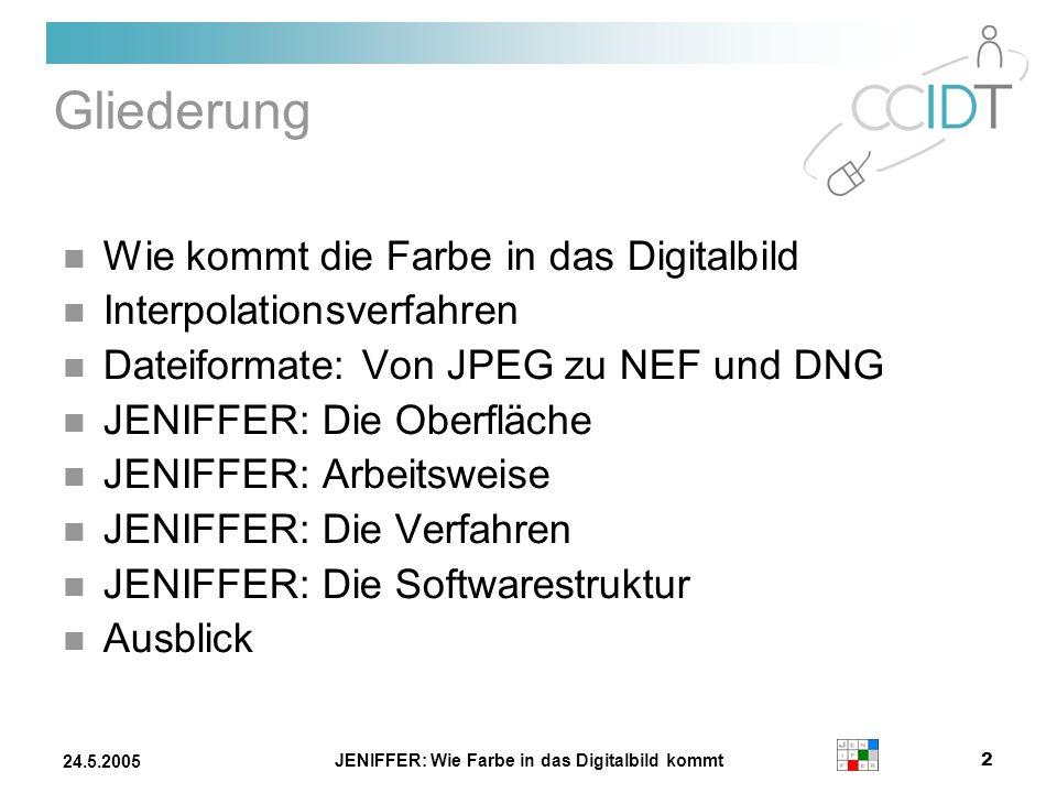 JENIFFER: Wie Farbe in das Digitalbild kommt 2 24.5.2005 Gliederung Wie kommt die Farbe in das Digitalbild Interpolationsverfahren Dateiformate: Von J