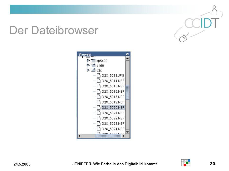 JENIFFER: Wie Farbe in das Digitalbild kommt 20 24.5.2005 Der Dateibrowser